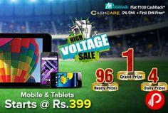 Shopclues #HighVoltageSale is offering #Mobile & #Tablets Starts at Rs.399. #Mobikwik Flat Rs.100 #Cashback, CashCare 0% EMI +First EMI Free.  http://www.paisebachaoindia.com/mobile-tablets-starts-at-rs-399-high-voltage-sale-shopclues/