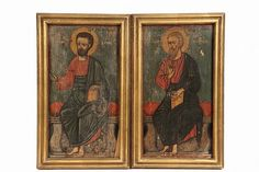 PAIR OF EARLY RELIGIOUS ICONS Saints Matthew and Luke, Apostles and Evangelists - Palestinian-Christ - by Thomaston Place Auction Galleries