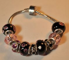 Art Deco......Stunning Black and Pink Euro 'Bracelet Now only $11 Come check it out!! by EnchantedJewelry2012