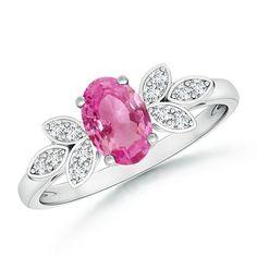Angara Vintage Style Three Stone Pink Sapphire Wedding Ring LVOyk4h5