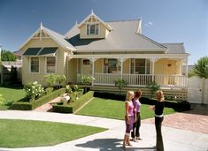 The weatherboard house Exterior Color Schemes, House Color Schemes, Exterior House Colors, Weatherboard Exterior, Colorbond Roof, Roof Paint, Yellow Houses, Facade House, House Exteriors