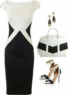 Talbot Runhof: slimming black and white shift dress. Could add the side detail appliquéd on to the top of a shift dress or a knee length cost White Fashion, Work Fashion, Fashion Looks, Mode Outfits, Dress Outfits, Fashion Dresses, White Shift Dresses, White Dress, Looks Chic
