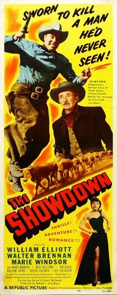 THE SHOWDOWN (1950) - William Elliott - Marie Windsor - Walter Brennan - Directed by Joseph Kane - Republic Pictures - Insert Movie Poster.