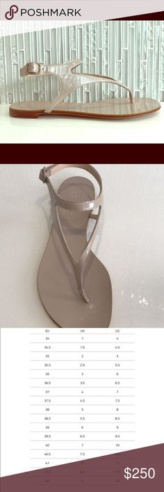 Casadei Patent Leather Thong Sandals, Beige, BNIB These Casadei sandals are very easy to wear. The patent leather is soft and comfortable. This pair is nude with tonal buckle. They are brand new and in original box. Casadei Shoes Sandals