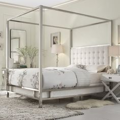 INSPIRE Q Solivita White Linen Button Tufted Metal Poster Bed - Overstock™ Shopping - Great Deals on INSPIRE Q Beds