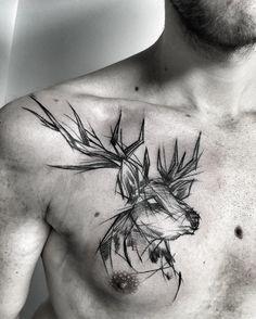 Black tattoo deer