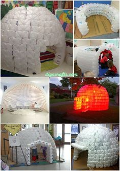 Recycling at its Finest: How to Build a Magnificent Milk Jug Igloo, Creative and easy project to entertain kids. #recyclingmilkjugs