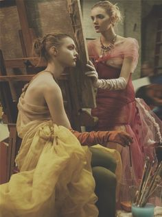 Sasha Pivovarova and Lily Donaldson by Steven Meisel for Vogue US March 2006