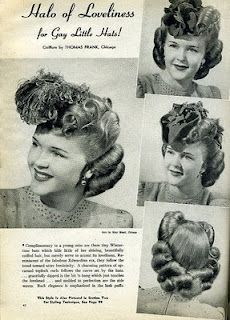 A halo of loveliness: 1940s hairstyle for hats.  |  The Girl with the Star-Spangled Heart