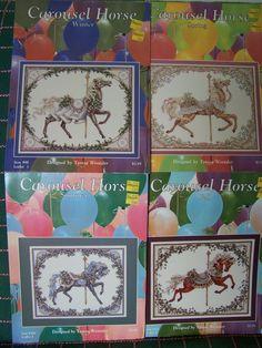Lot of 4 Teresa Wentzler Carousel Horse Cross Stitch Patterns Winter Summer Spring Fall