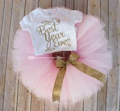 Best Year Ever Tutu Outfit, Birthday outfit, Cake Smash, New years eve outfit, Photo shoot, Glitter onesie / bodysuit, Sparkle tee