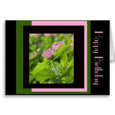 Floral Birthday, Pink Penta on Green Pink Black Card