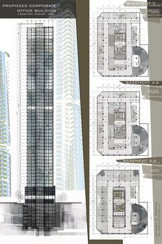 Design 8 / Proposed Corporate Office Buildling / High-rise Building / Architectural Layouts / Basement Parking / Floor plans