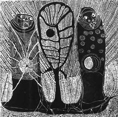 "Dan RAKGOATHE ""Manifestation of Duality"", 1974 - original linocut 1/50 - 48x48…"