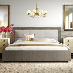 Shop the Monarch Kendall Upholstered Standard Bed at Perigold, home to the design world's best furnishings for every style and space. Plus, enjoy free delivery on most items. Stanley Furniture, Four Poster Bed, Bed Slats, Upholstered Platform Bed, Wood And Upholstered Bed, Adjustable Beds, Panel Bed, Cool Beds, Luxury Bedding