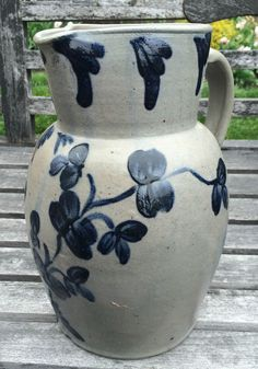 Outstanding Antique Cobalt Blue Decorated Stoneware Pitcher. Exc. Condition AAFA #Americana