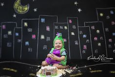Baby Dinosaur Cake Smash, Godzilla Cake Smash!  Baby Boy Cake Smash, First Birthday Cake Smash, DIY Chalkboard Background, Kimberly Cowan Photography