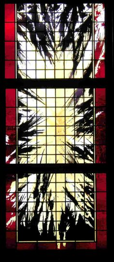 """Firmament"""" - Sacred Heart C.C., Punta Gorda, FL, 2008    3'6""""x8'6"""" etching and fire polishing on flashed glass with silver stain"""