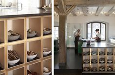 Lordie I want to live at Noma. This is a working kitchen! Love the cubby holes and the produce arranged in pottery bowls.