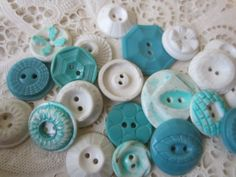Vintage Buttons  Cottage chic mix of aqua by pillowtalkswf on Etsy, $8.95