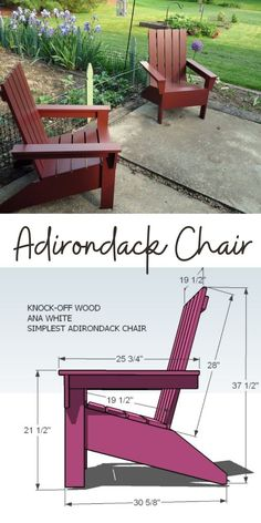 Finally, an Adirondack Chair that is easy to build and stylish and comfortable! This do it yourself project plan to build a DIY Adirondack chair is simple, and easy. Inspired by polywood furniture, build your own affordable Adirondack chair. Special thanks to Amy for sharing her photos. #anawhite #anawhiteplans #diy #adirondack #outdoorfurniture Backyard Chairs, Wooden Garden Chairs, Patio, Outdoor Chairs, Outdoor Decor, Kids Adirondack Chair, White Adirondack Chairs, Adirondack Furniture, Diy Wood Projects