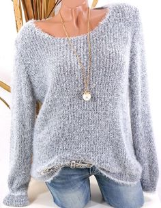 Low Round Collar Fashion Plain Long Sleeve Knit Pullover - Outfit of the day Stylish Dresses, Trendy Outfits, Long Sleeve Sweater, Long Sleeve Tops, Oversize Pullover, Pullover Outfit, Buy Dresses Online, Types Of Collars, Latest Fashion Clothes