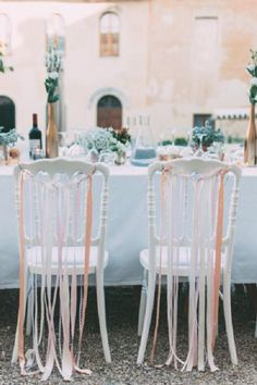 Ribbon wedding chairs