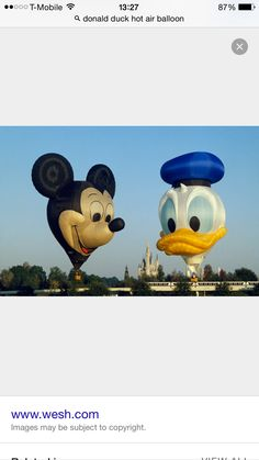 Mickey Mouse and Donald Duck hot air balloons WDW