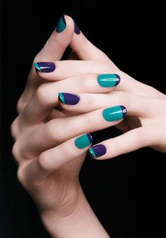 Trendy Nail Polish Designs The new manicure trends offer you the privilege to experiment with these trendy simple nail art designs in . French Nails, Coloured French Manicure, French Manicure Designs, Nail Polish Designs, Nail Art Designs, Nail Design, French Manicures, Diva Design, Colorful French Manicure