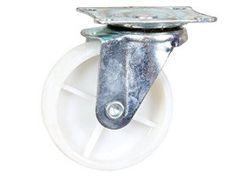 Roulette blanche en polypropylène roue Jantes à roulement à billes pour diminuer l'effort au démarrage Moyeu lisse, Armature en tôle acier…