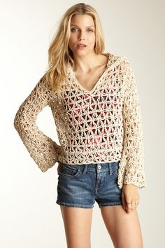 Free People Star Stitch Hoodie Pullover