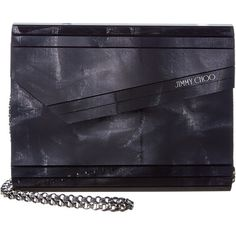 Jimmy Choo Candy Crinkled Lame Fabric Acrylic Clutch ($680) ❤ liked on Polyvore featuring bags, handbags, clutches, black, shoulder strap purses, acrylic purse, acrylic clutches, shoulder strap handbags and lucite purse