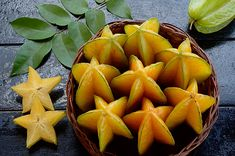 Carambola, also known as starfruit, is the fruit of Averrhoa carambola, a species of tree native to the Philippines, Indonesia, Malaysia, India, Bangladesh and Sri Lanka. The fruit has distinctive ridges running down its sides, in cross-section, it resembles a star. The entire fruit is edible and is usually eaten out of hand. They may also be used in cooking, and can be made into relishes, preserves, and juice drinks.