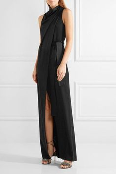 Halston Heritage - Draped Wrap-effect Satin-crepe Gown - Black - US