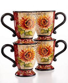 Certified International Dinnerware, Set of 4 Tuscan Sunflower Mugs