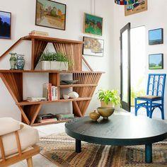 Slatted studio shelf in shop.  #nickeykehoe #furnituredesign #interiordesign #shopsaturday