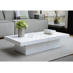 Verona Extendable High Gloss Coffee Table In White New House
