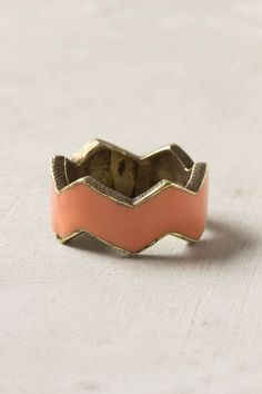 """Crown your finger with this enamel and brass ring, pointed from top to bottom. Handmade by Brandy Pham.  - Brass, enamel  - 0.25""""W - Handmade in USA"""