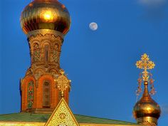 Russian Chapel Detail with Moon, Darmstadt, Germany