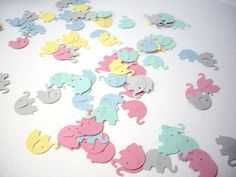 100 elephant punches paper elephants pastel by JDooreCreations, $2.50