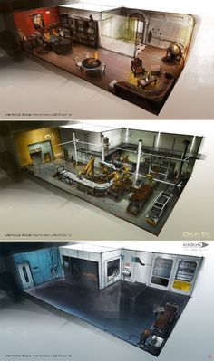 Pre-production works, keeping the same perspective sketch for different rooms. Deus Ex: Human Revolution/Eidos Montreal. The Icarus painting is not from me obviously Copyright © Eidos - Square Enix Sci Fi Environment, Environment Design, Cyberpunk, Spaceship Interior, Interior Concept, Ex Machina, Environmental Art, Game Design, Revolution