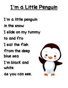 I'm a Little Penguin Poem - Mary woodson - I'm a Little Penguin Poem This is just a cute little poem/song about penguins. It is sung to the tune of I'm a Little Tea Pot. Preschool Music, Preschool Classroom, Preschool Winter Songs, January Preschool Themes, Penguin Songs, Snowman Poem, Penguin Craft, Winter Fun, Winter