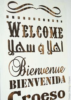How To Make A Multi-Lingual Wood Welcome Sign, diy welcome sign, two tone welcome signs, welcome subway art, multi-lingual signs, white and ...