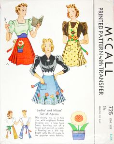 McCall 725 (1939) vintage sewing pattern for aprons.