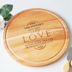 Personalised Full of Love Large Round Chopping Board. Beautiful wooden board with detailed engraving.