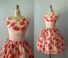 Vintage 1950s Pink Painted Poppies Party Dress