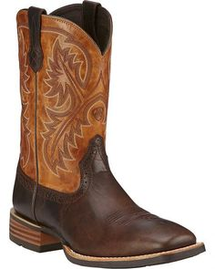 Be ready for anything out on the ranch or down the road with boots from Ariat. These handsome Ariat Quickdraw Cowboy Boots are crafted from full-grain leather, have a round toe, and feature decorative