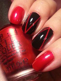 Mivi Nail Art: Manicura Negro y Rojo