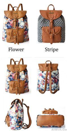 good Fresh Retro Floral Flower Zebra stripes Drawstring Hasp Travel Bag Satchel Backpack for big sale ! #flower #backpack #bag #satchel #school #college