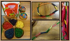 """Threading coloured pasta onto laces or pipe-cleaners from Rachel ("""",)"""